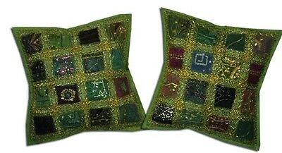 """16""""-2 Green Vintage Sari Sequin Beaded Accent Floor Toss Cushion Pillows Covers"""
