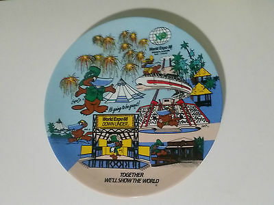 World Expo 88 Expo Ox Platypus Commemorative Plate! Together We Will Show The Wo
