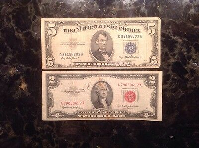 1953 C  $2  USN - Red Seal + 1953 A $5 Silver Certificate - Blue Seal