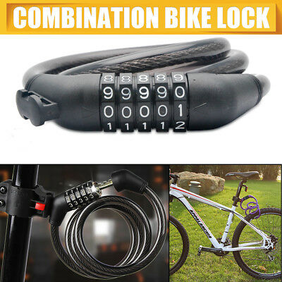 Bike Bicycle Lock 5 Digit Combination Code Steel Cable Security Password Cycling