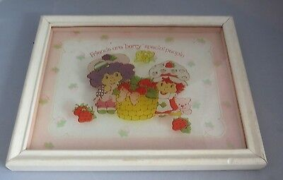 """Vintage Strawberry Shortcake Raspberry Tart Glass picture 8x6 """"Berry special"""""""