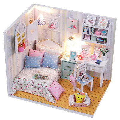 Miniature Doll House Wooden Dollhouse w/ LED Lights DIY Kids Children Toys Gift