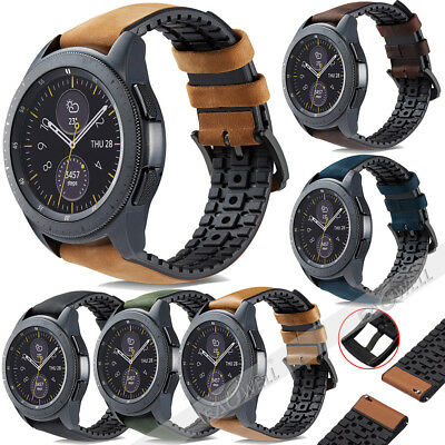 Genuine Leather & Silicone Watch Band Strap For Samsung Galaxy Watch 42/ 46mm WQ