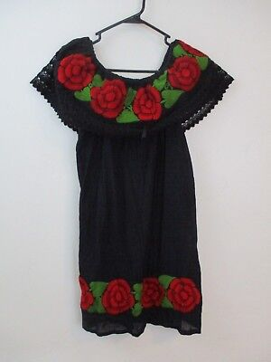 Vintage Embroidery Dress Black red Rose Women's M/L off shoulder Mexican lace