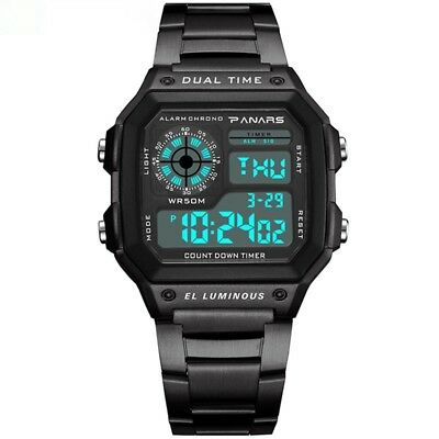 Men's Watch Large Square Military Sports Analog Digital Outdoor Waterproof