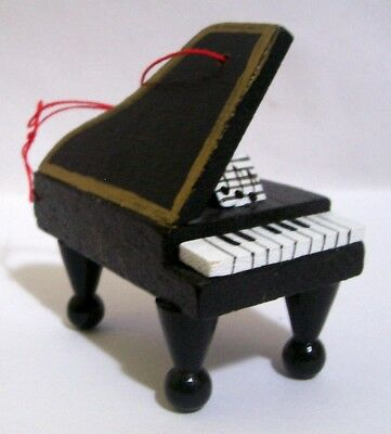 Vintage Small Wooden Grand Piano Christmas Ornament