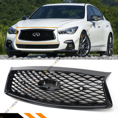 For 2018-19 Infiniti Q50 Glossy Black Front Hood Bumper Upper Grill With Sensors