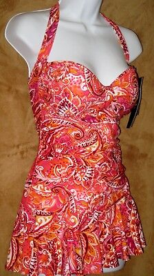 54ef1b8c37 New Chaps Retro Halter One Piece Swim Dress Slimming Fit 10 Orange Paisley  Tummy