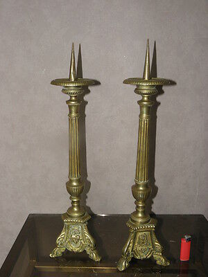 Antique Pair Gothic French Bronze Candlesticks Candle Majestic 18th andelabra
