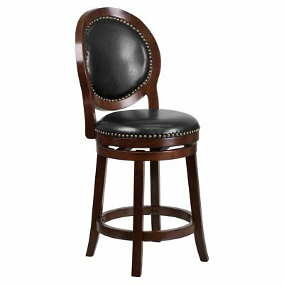 Flash Furniture 26 in. Round Back Cappuccino Wood Counter Height Wood Barstool