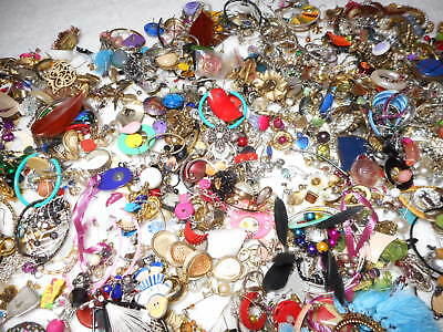 1/2 POUND LOTS SINGLE EARRINGS Junk Drawer Jewelry Making Crafts Vintage to Now