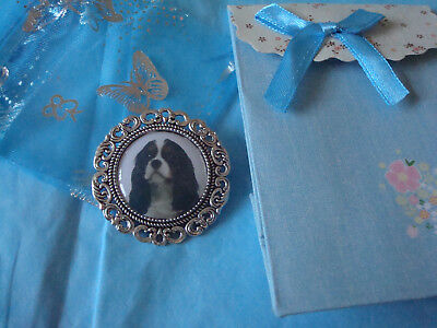 """""""CAVALIER KING CHARLES SPANIEL"""".TRI COL.  Brooch. lnc. Gift bag NEW LARGE STYLE"""