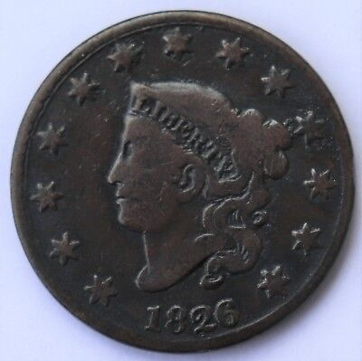 1826 Coronet Head Large Cent, N-6, R2, Combined Ship