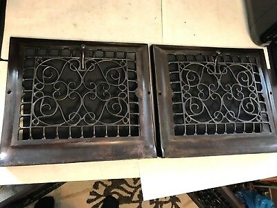 2 Antique Arts Craft Victorian Cast Iron Baseboard Wall Heat Grate Register