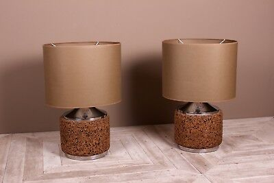 A Pair Of Large Chrome and Cork Table Lamps