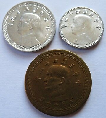 China 1950/5 Taiwan Formosa UNC coins set Chiao, Y533-535  (051147)