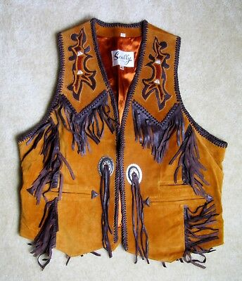 Scully Western Vest Mens Leather Beading Fringe Size 42 American Rodeo Indian
