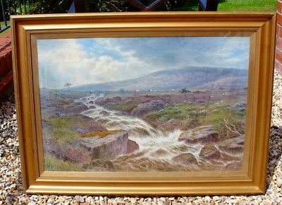 19th C Frederick William Pike Watercolour North Wales Snowdonia Mountains 1870s