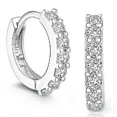 Small Sterling Silver Cubic Zirconia  Huggie Hoop Earrings for Cartilage 10mm