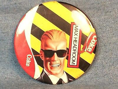 "VINTAGE 1980s COCA COLA MAX HEADROOM MTV ADVERTISEMENT BUTTON LARGE 3"" PINBACK"