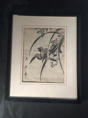 Vintage Antique Japanese Wood Block Print Bird And Flowers Character Marks