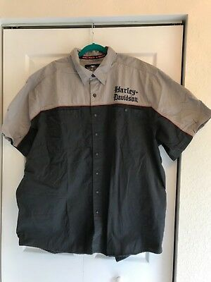 Harley Davidson Men's Front Button Short Sleeve Shirt with Gothic Text Size 3XL