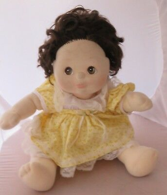 1985 Mattel My Child doll - brunette, brown eyes, yellow lace party dress