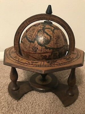 VINTAGE OLD WORLD TERRESTRIAL ZODIAC DESK TOP WOOD GLOBE - MADE in ITALY