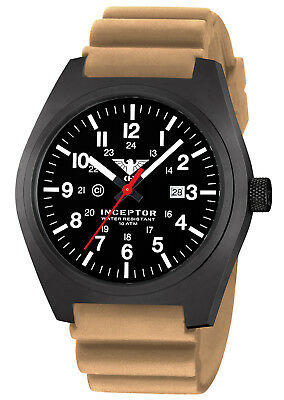 KHS Tactical Watches Black Steel C1-Light Date Rubber Band Beige KHS.INCBS.DB