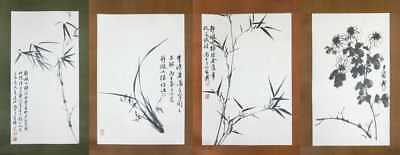 Lot of 4 Vintage Chinese Water Color Painting Scrolls by 林千石