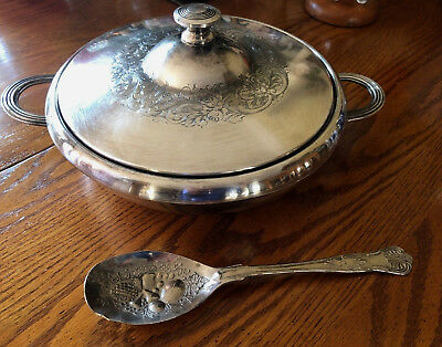 Vintage Derby Silverplate covered dish casserole repousse floral  +Serving Spoon