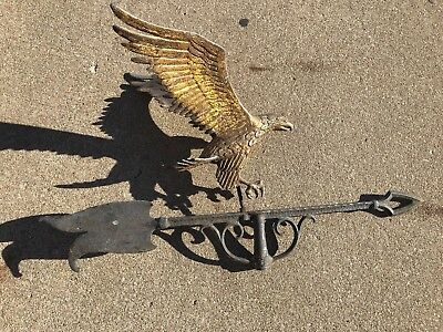 Vintage Antique Eagle Weathervane Cast Aluminum Brass Americana Folk Art