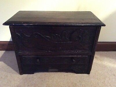Antique Chest With Hinged Top and drawer old  Carved front
