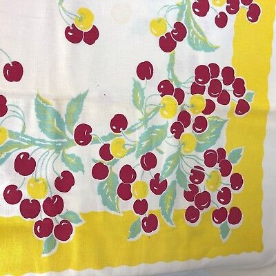 VTG 1950's Cherry Barkcloth Tablecloth Fabric Rectangle Red White Retro MCM 53""