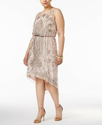 ADRIANNA PAPELL PLUS Size Embellished A-line Dress $279 Size 14W # 7B 61 Blm