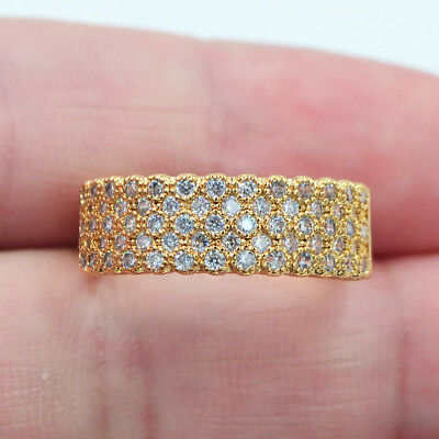18K Yellow Gold Filled Women Lady Clear Micro-Pave Topaz Gems Ring Jewelry