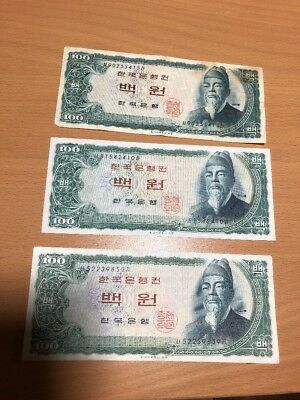 South Korea 100 Won ND (1965) P-38 Circulated Lot of 3