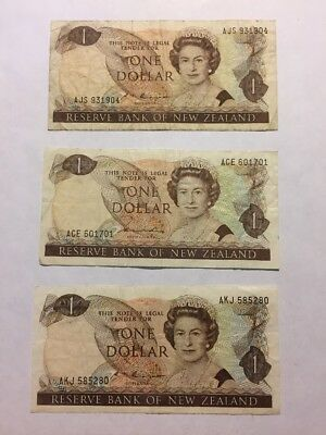New Zealand 3x 1 Dollar ND (1981-1992) P-169 Circulated F-VF