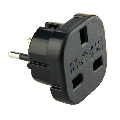 Wall Power Plug Socket Euro Travel Converter Charger Adapter EU to UK AC - Black