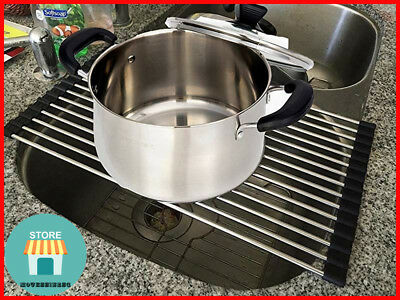 DISH DRYING FOLDABLE Stainless Rack Kitchen Sink Non-Slip