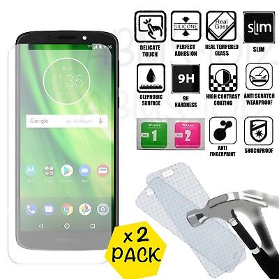 2 x Tempered Glass Film Cover Clear Screen Protector For Motorola Moto G6 Play