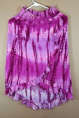 Girls Size 12 Justice brand Long Skirt Summer dye high and low