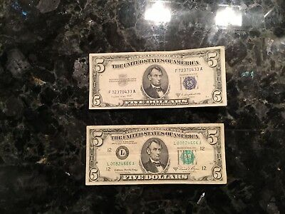 1953 B $5 Silver Certificate + 1981 A $5 Federal Reserve Note - San Francisco