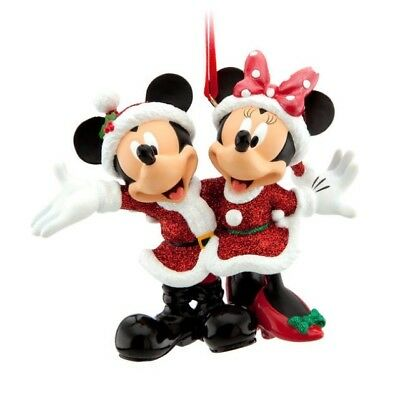 Disney Figural Ornament Mickey & Minnie Mouse Holiday Christmas Santa Suit Nwt