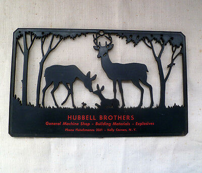 ~ HUBBELL BROTHERS Kelly Corners Margaretville NY Plaque ~ vintage 1970s? ~ DEER