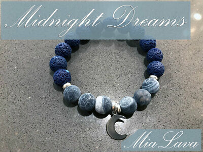 Aromatherapy Bracelet Midnight Dreams & Silver Moon Charm & Free Essential Oil