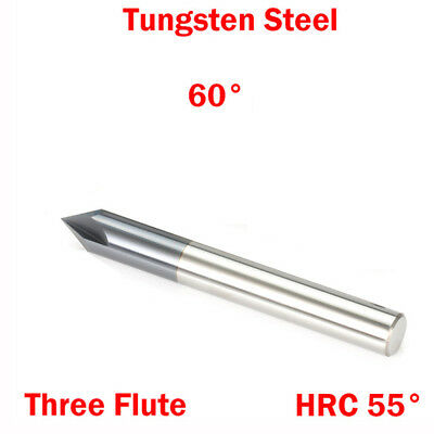 1Pc 3.0mm 3 Flute 60 Degree Tungsten Solid Carbide HRC55 Chamfering End Mill