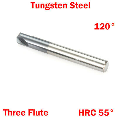 1Pc 6mm 3 Flute 120 Degree Tungsten Solid Carbide HRC55 Chamfering End Mill