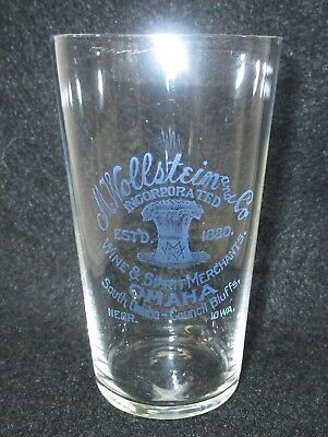 M. Wollstein & Co Wine & Spirit Merchants Pre Pro Glass Omaha/Council Bluffs