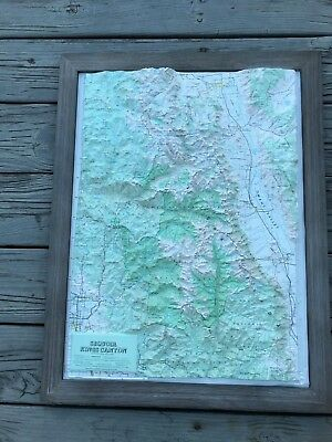 Topographical Map Sequoia Kings Canyon Mounted Wood Framed 26x21 Inch